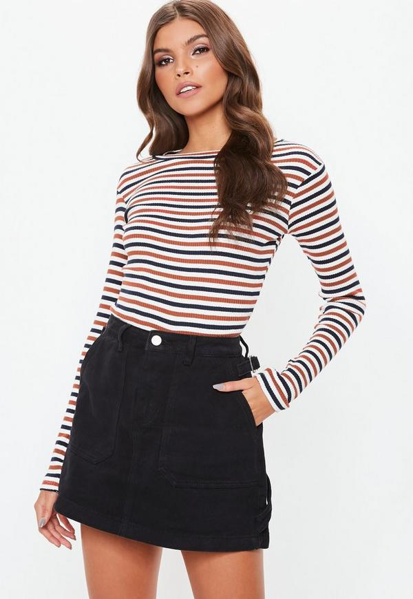 Cream Crew Neck Stripe Ribbed Top by Missguided