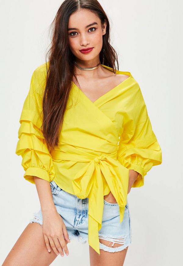 Yellow Ruffle Sleeve Wrap Top