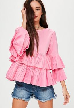 Pink Pleated Hem Blouse