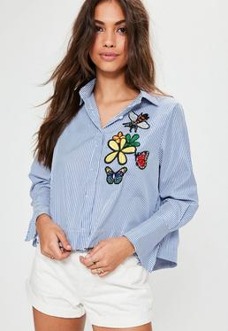 Blue Striped 3D Embroidered Shirt