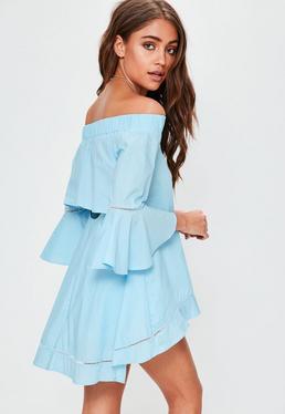 Blue Dip Hem Flare Sleeve Bardot Top
