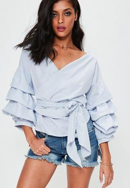 White Gathered Sleeve Wrap Around Woven Top