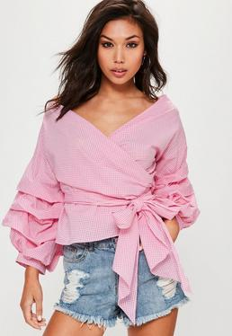 Pink Plaid Tie Wrap Flare Sleeve Top