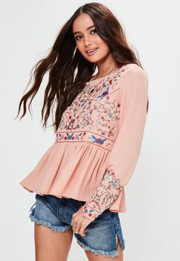 Pink Frill Sleeve Embroidered Top