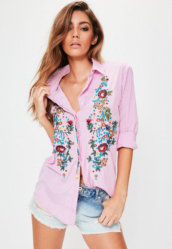 Pink Stripe Floral Embroidered Shirt | Missguided Ireland
