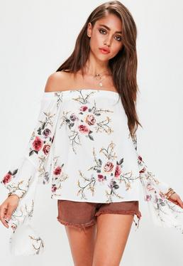 White Floral Bardot Frill Sleeve Top
