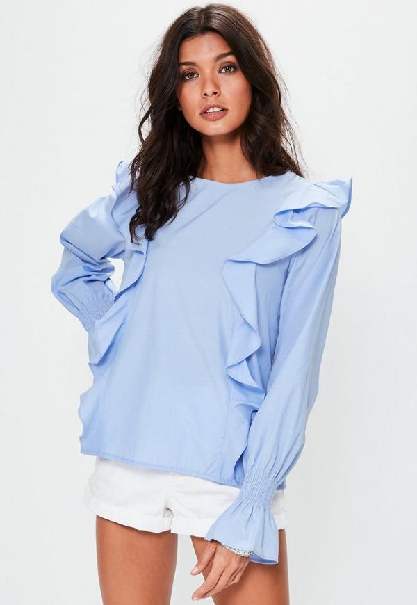 Blue Frill Detail Long Sleeve Top