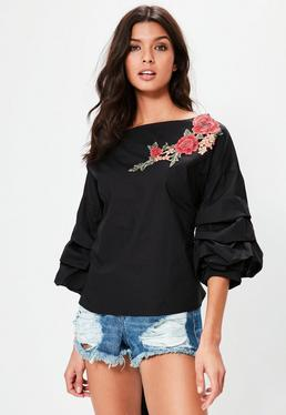 Black Floral Applique Gathered Sleeve Top