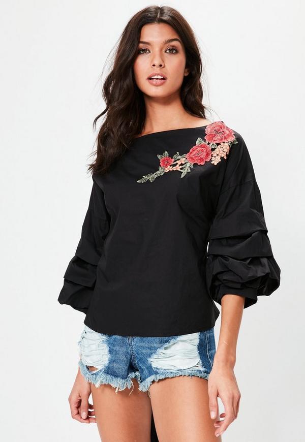 Black Floral Applique Gathered Sleeve Top