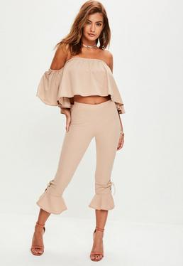 Camel Lattice Detail Crop Top Trousers Set