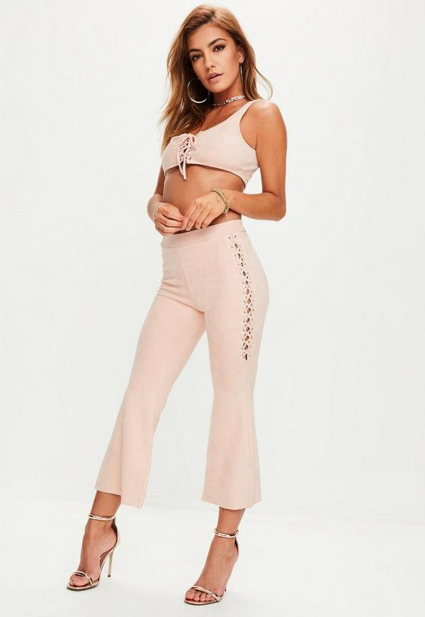 Pink Faux Suede Crop Top Flare Trousers Set