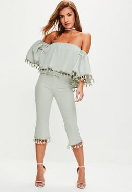 Grey Tassel Bardot Top Cropped Trousers Set