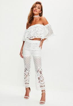 White Lace Bardot Top Flare Trousers Set