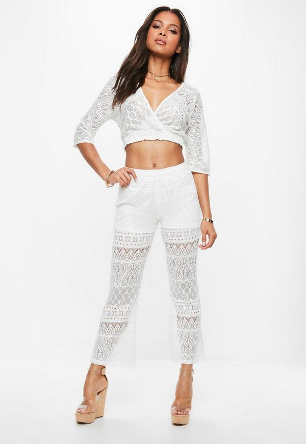 White Lace Wrap Top Flare Trousers Set