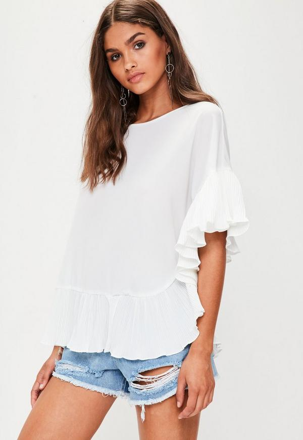 White Pleated Frill Top
