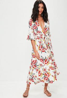 White Printed Wrap Over Maxi Dress