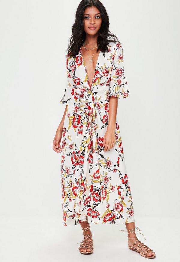robe portefeuille longue blanche fleurie missguided. Black Bedroom Furniture Sets. Home Design Ideas