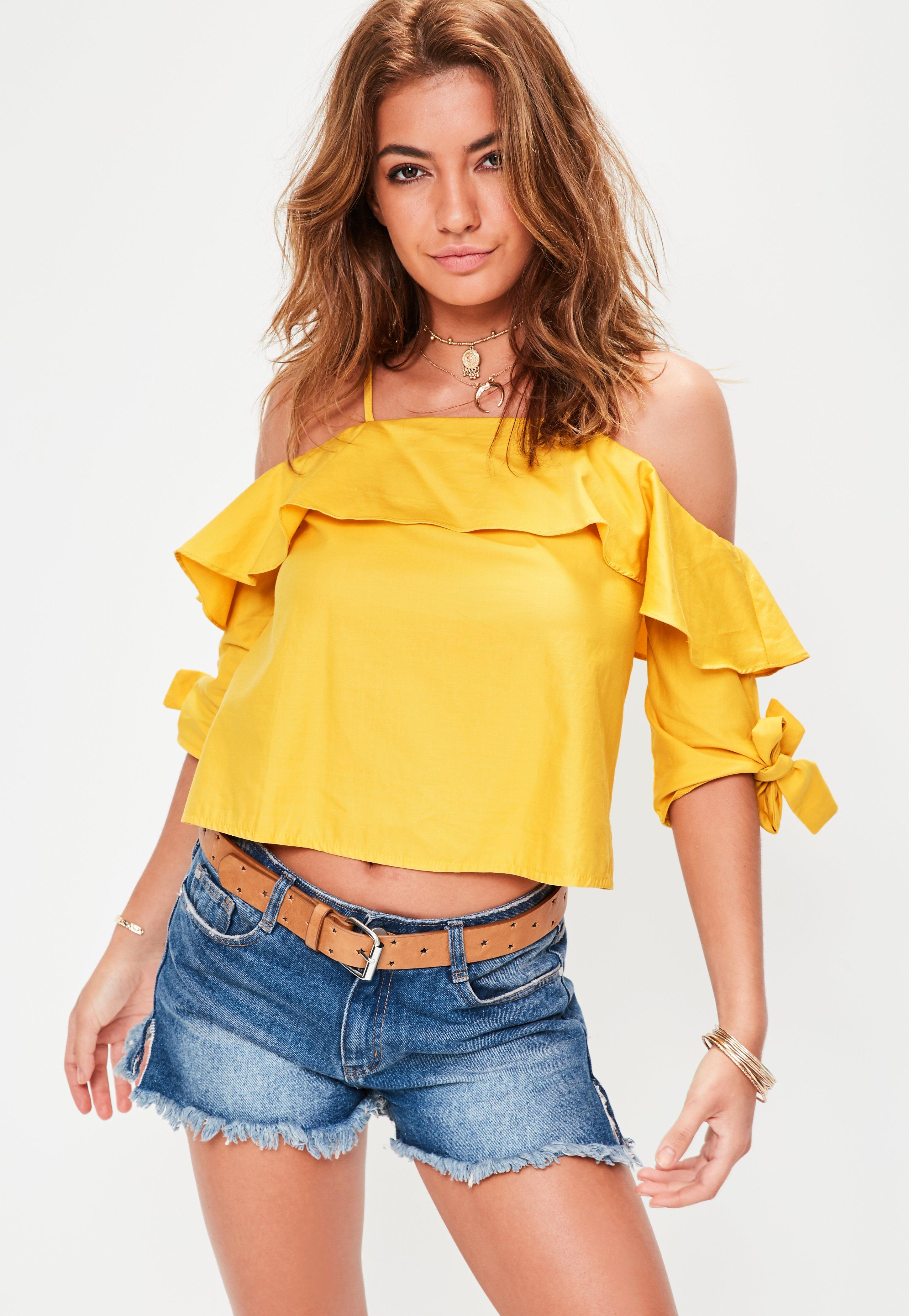 e40c54727c078 Yellow Tie Sleeve Cold Shoulder Top