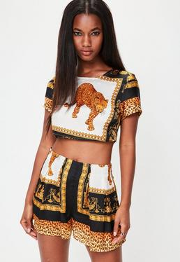 Gold Animal Print Cropped T-Shirt