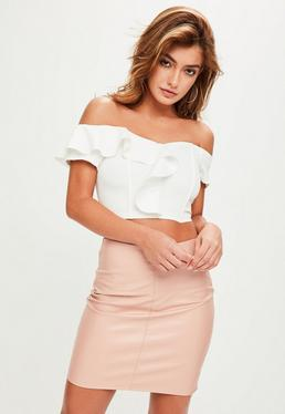 White Bardot Frill Crop Top
