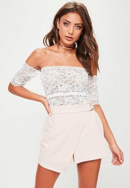 White Lace Bardot Bodysuit