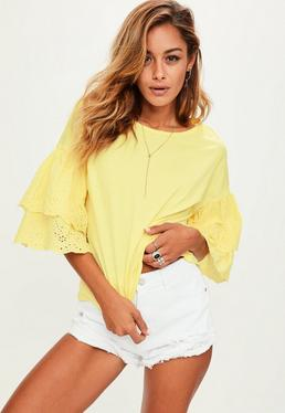 Yellow Frilled Sleeve Top
