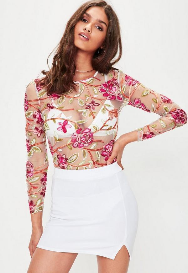 Cream Embroidered Long Sleeve Bodysuit