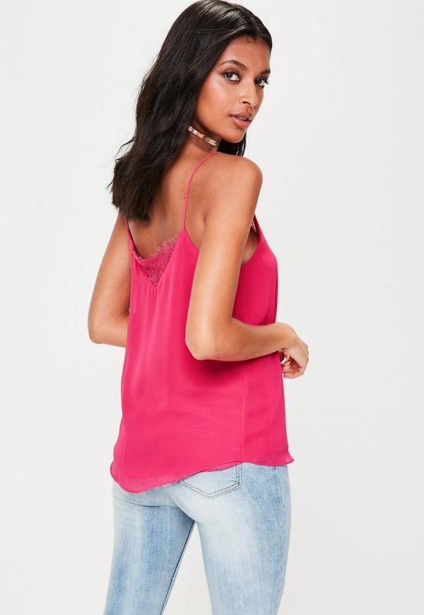97d5299c1daa17 Pink Lace Insert Cami Top. Previous Next