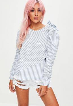 White Striped Bow Top