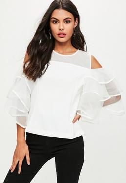 Cream Mesh Tiered Frill Blouse