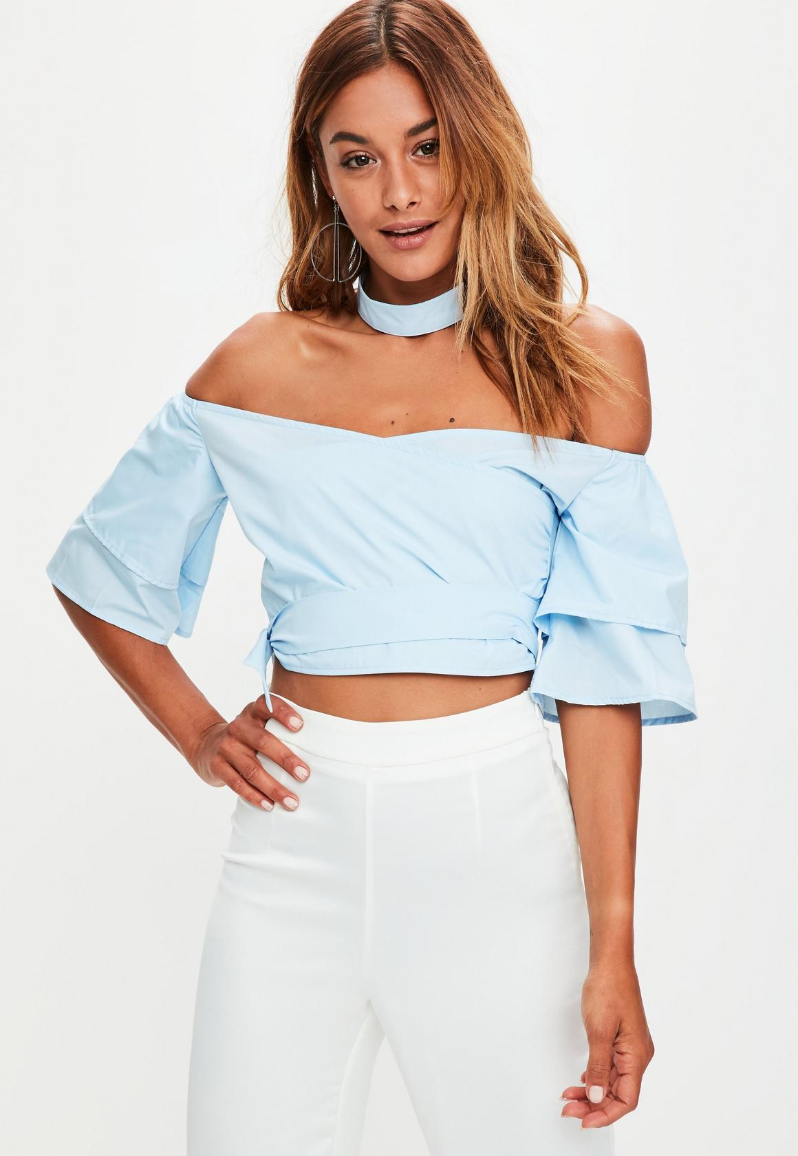 Blue Off The Shoulder Choker Crop Top | Missguided