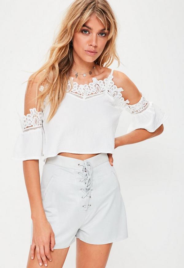 White Crochet Trim Swing Top