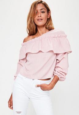 Pink Frill Asymmetric Bardot Top