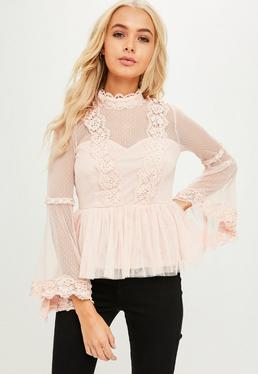 Pink Sheer Mesh Crochet Top