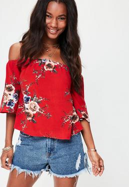 Red Bardot Printed Floral Top