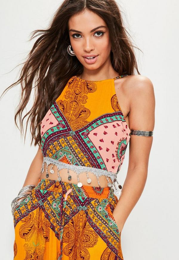 038c5634f10a79 Yellow Disc Hem Paisley Printed Cropped Top. €27.00. Previous Next