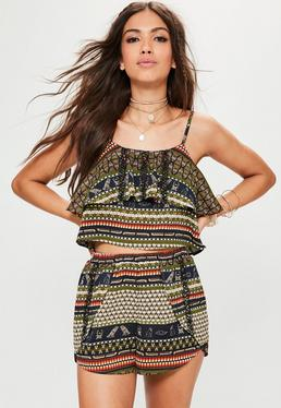 Khaki Tribal Printed Crop Top