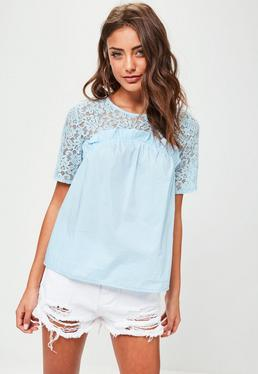 Blue Lace Frill Short Sleeve Top