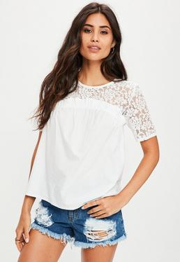 White Lace Frill Short Sleeve Top