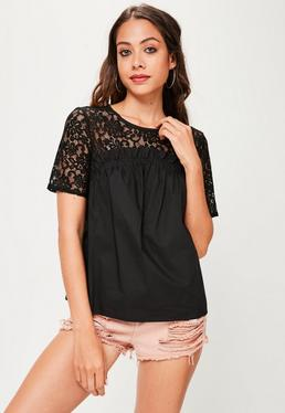 Black Lace Frill Detail Top