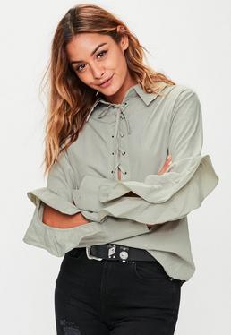 Khaki Tie Front Frill Sleeve Shirt