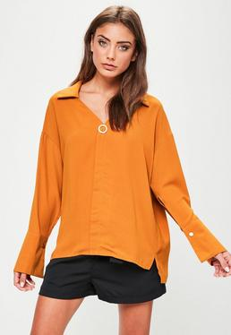Orange Pin Detail Blouse