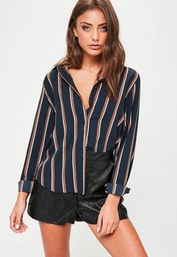 Navy Striped Silky Shirt