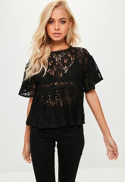 Black Lace Trim Detail Top