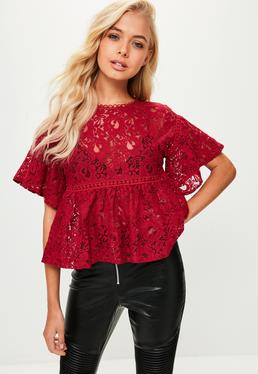 Red Lace Trim Detail Top