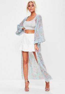 Blue Floral Printed Kimono