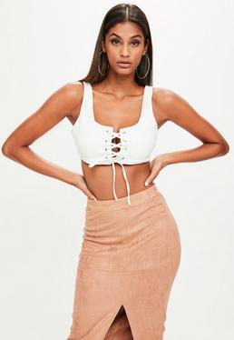 White Faux Leather Crop Top