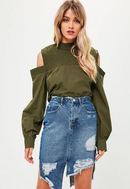 Khaki Shirred Cold Shoulder Top