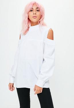White Smocked Cold Shoulder Top