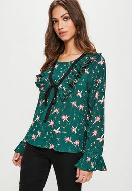 Green Floral Printed Frill Blouse